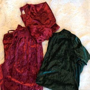 Other - Cute velvet Pajamas sets
